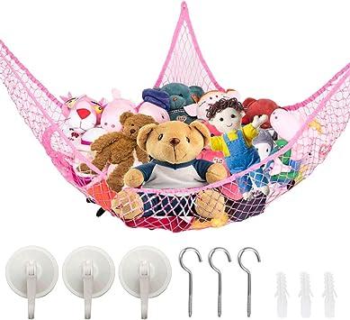 Doll Hanging Net with Hooks for Bedroom Plush Toys White 5 Pieces Stuffed Animal Hammocks Stuffed Toy Storage Hammock Nets Jumbo Wall Sling Corner Mesh Toy Organizer