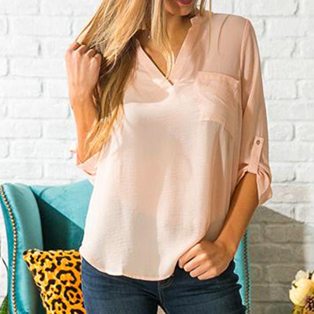 Yannerr mujer primavera bolsillos Gasa Cuello V Bajo asimétrico casual manga larga básica inferior camiseta tops suéter chaqueta sudadera blusa camisa mono ...