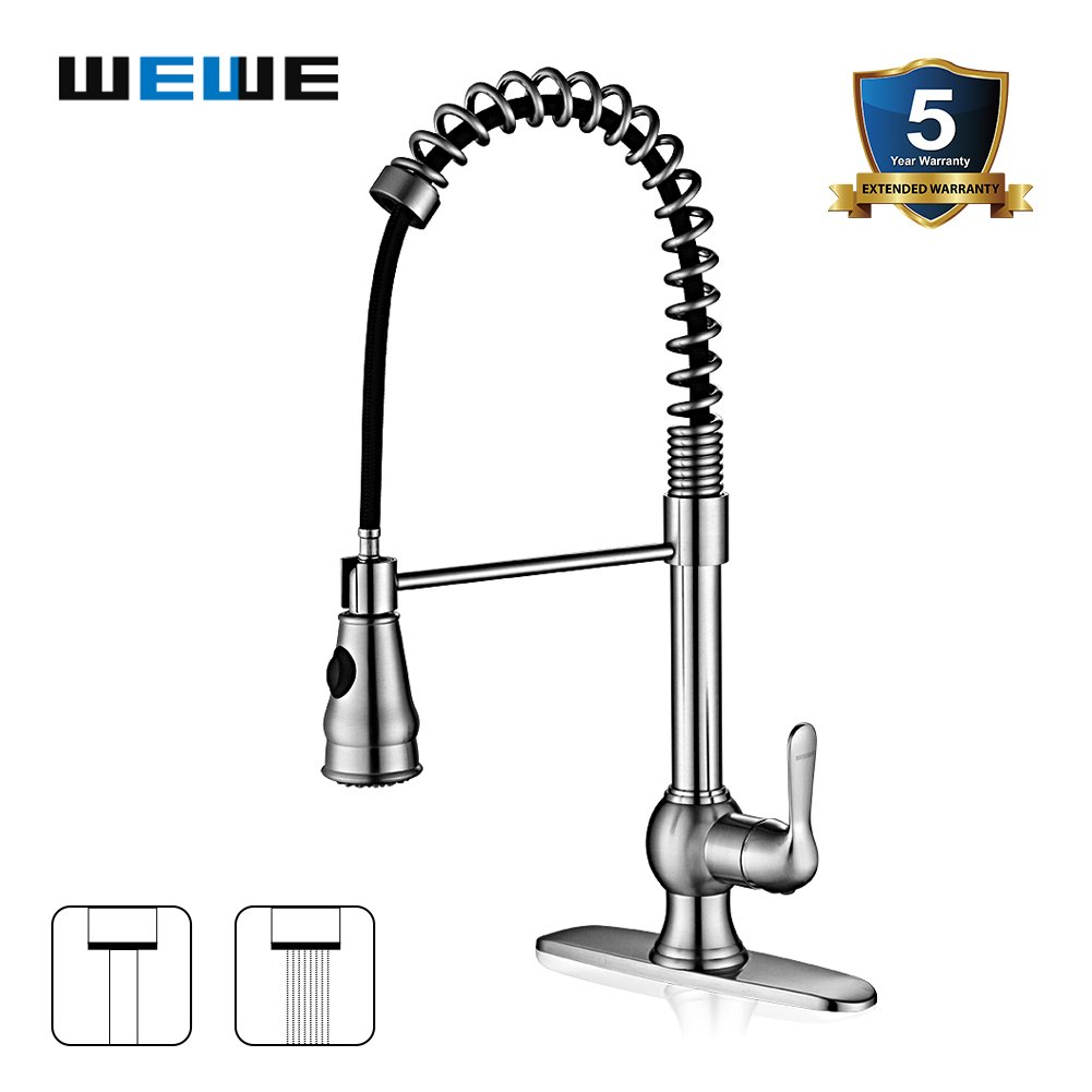 Kitchen Faucet with Sprayer - WEWE A1003L Single Handle Brushed ...