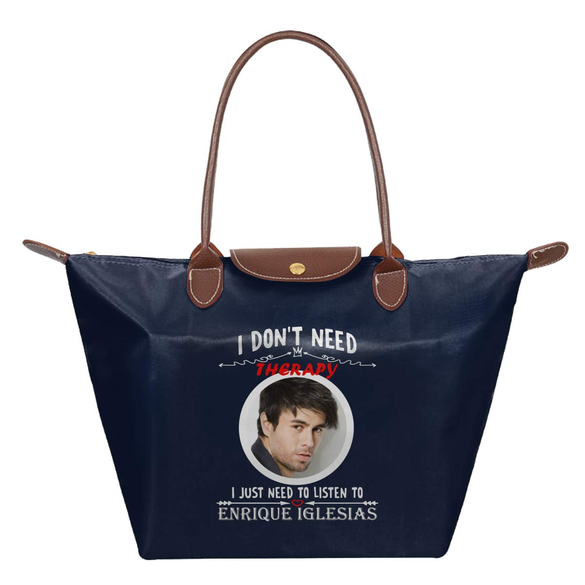 I Dont Need Therapy I Just Listen To Enrique Iglesias Waterproof Leather Folded Messenger Nylon Bag Travel Tote Hopping Folding School Handbags