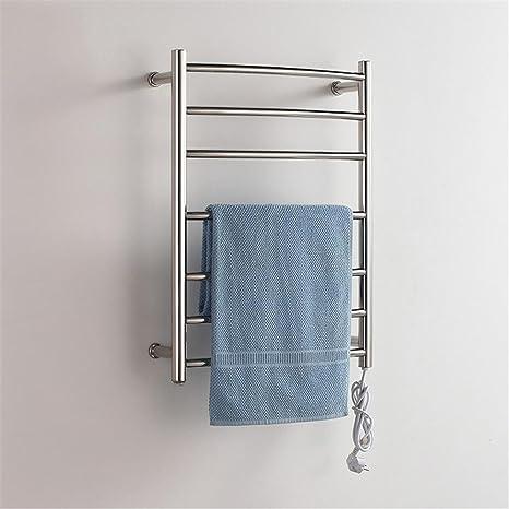 Tubo redondo Acero inoxidable Baño Montado en la pared Toallero eléctrico con calefacción barra de toalla