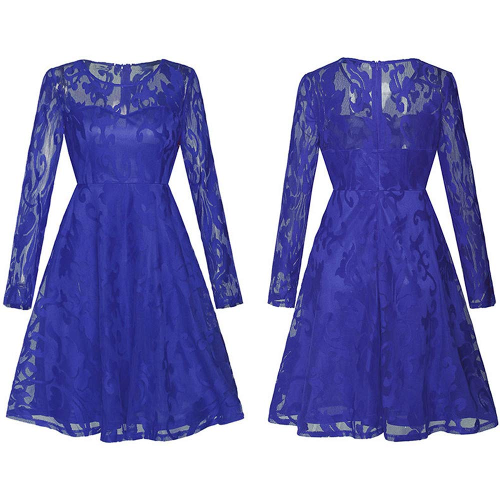 bluee Women Ladies Dress Long Sleeve Round Neck Vintage Floral Lace Cocktail Party Formal Swing Aline Dress Tunic Dress Wedding Dresses (color   Navy, Size   L)