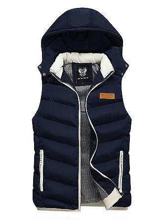 26406ea3fb1 FEOYA - Doudoune sans Manches Homme pour Hiver - Manteaux à Capuche - 5  Couleurs  Amazon.fr  Vêtements et accessoires