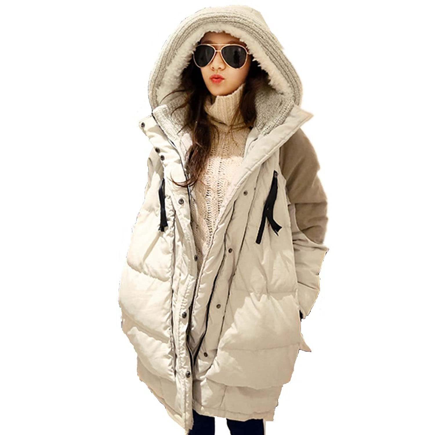 Bestor Fashion Womens Hooded Duck Down Jacket Parka Loose Fit ...