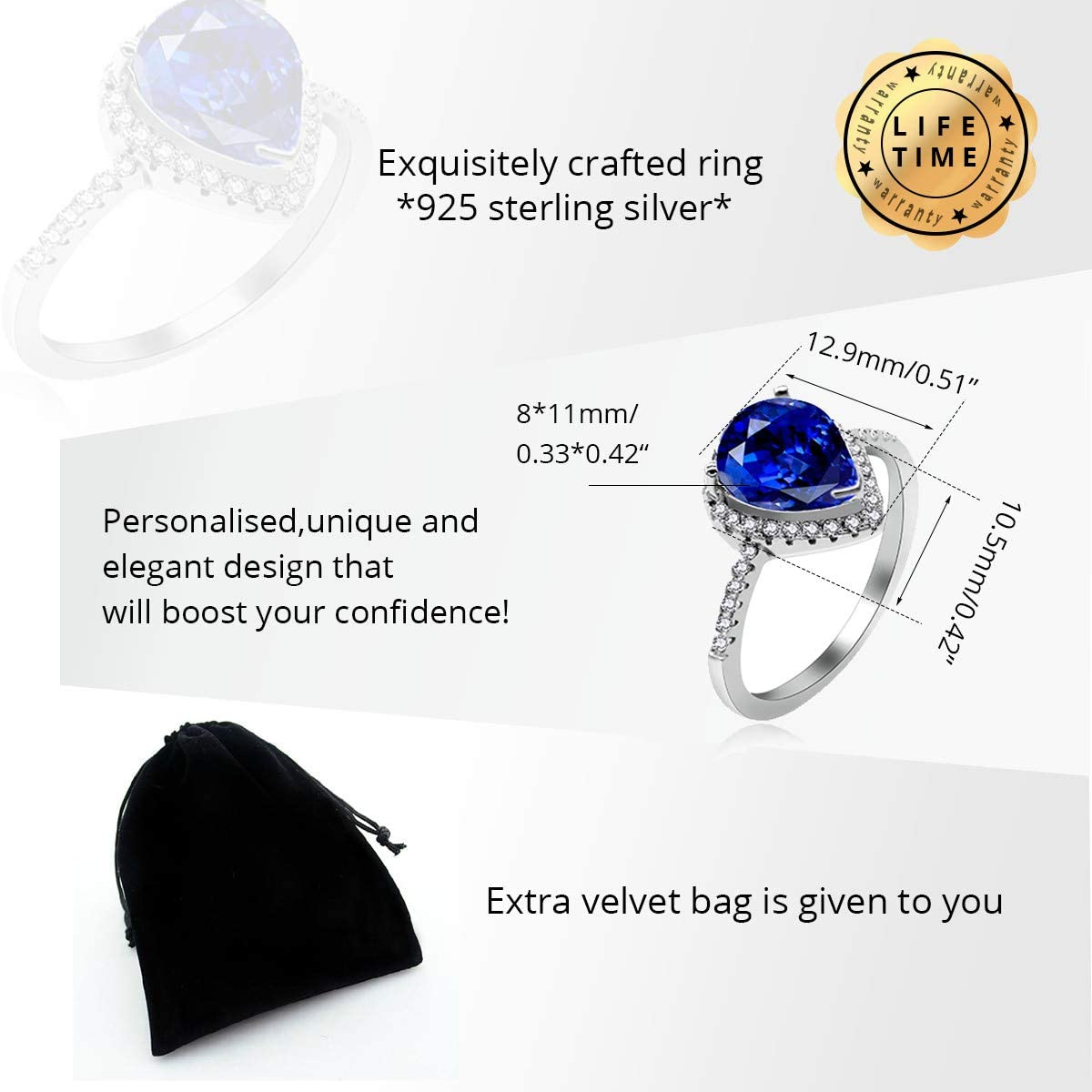 Blue, White JZ116 Uloveido 925 Sterling Silver Teardrop Shaped AAA Cubic Zirconia CZ Halo Promise Engagement Ring for Her