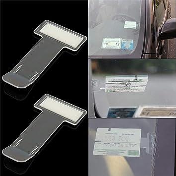 Clevoers 2 Stück Transparent Parkscheinhalter Selbstklebend Transparent Tickets Clips Halter Für Elektronische Parkscheibe Mit Zulassung Auto Windschutzscheibe Auto