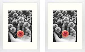 Frametory, 12x16 White Picture Frame - Made to Display Pictures 8.5x11 Photo with Ivory Color Mat - Wide Molding - Preinstalled Wall Mounting Hardware (12x16, 2-Pack, White)