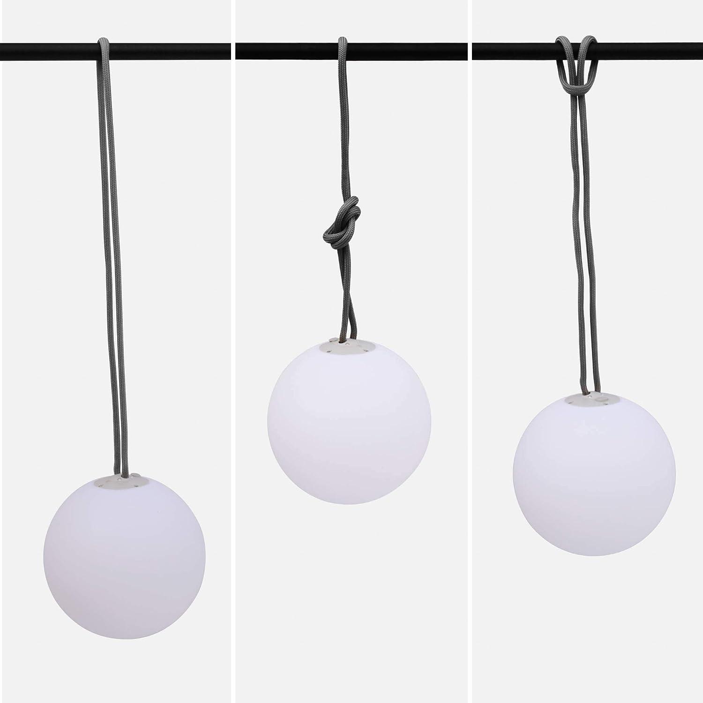 Lampe LED sph/érique /à suspendre CORDA 20 boule lumineuse /à accrocher rechargeable /Ø 20cm