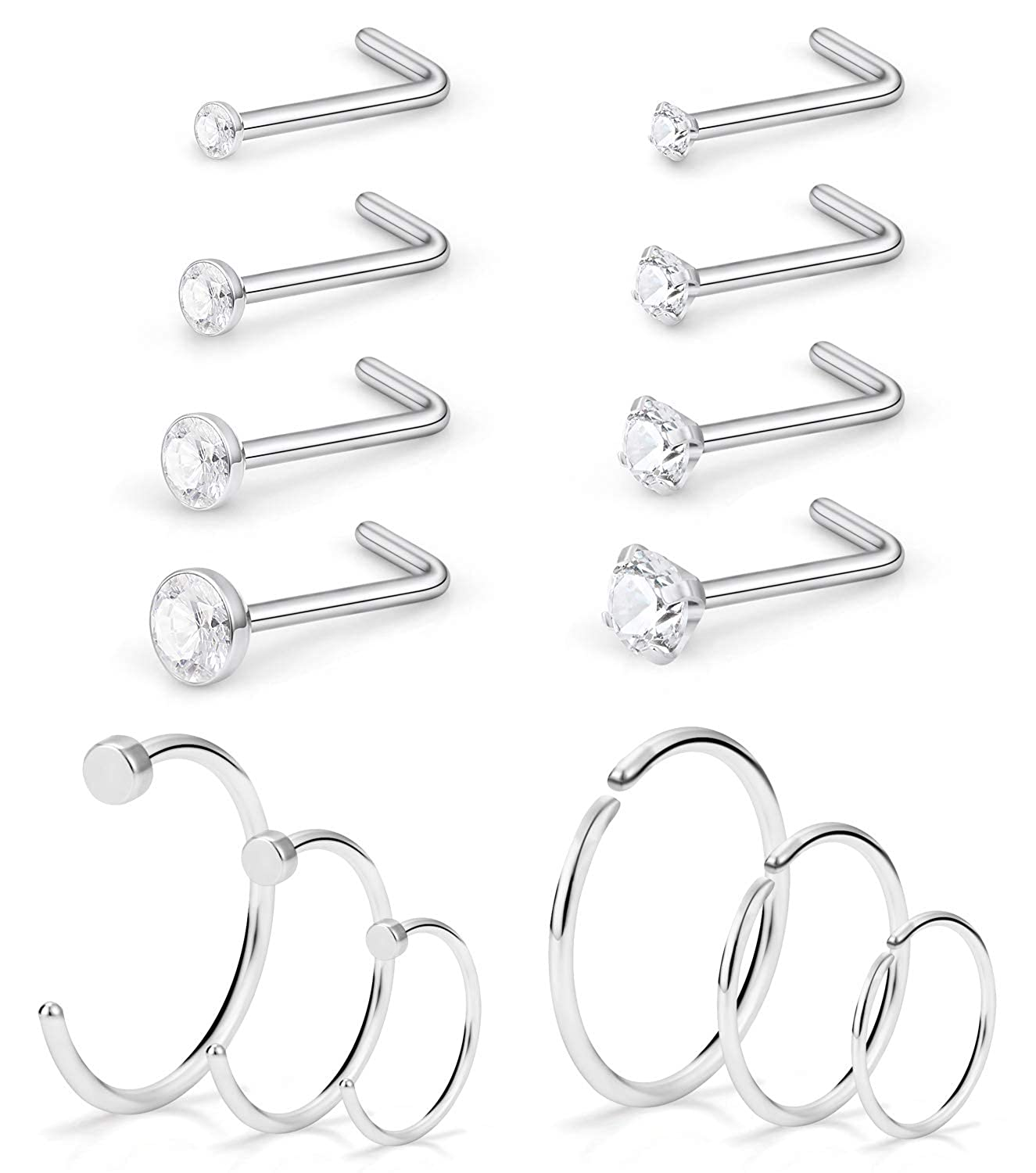 SCERRING 20G Nose Rings Hoop Stainless Steel Bone L Shaped Screw Clear CZ Nose Studs Cartilage Tragus Ear Piercing Ring Hoop Body Jewelry Set 14PCS BDS0170