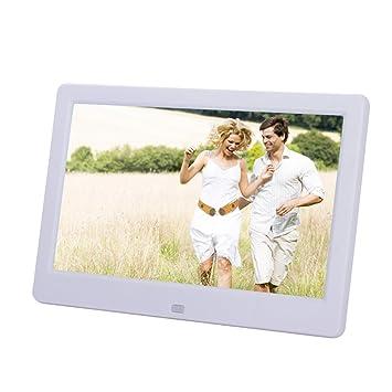 Quarice®10.1 Pulgadas Marco Digital fotos 1024*600 HD TFT LCD Reloj Despertador Alarma MP3 MP4 Controlador Remoto USB reproductor de películas (Blanco): ...