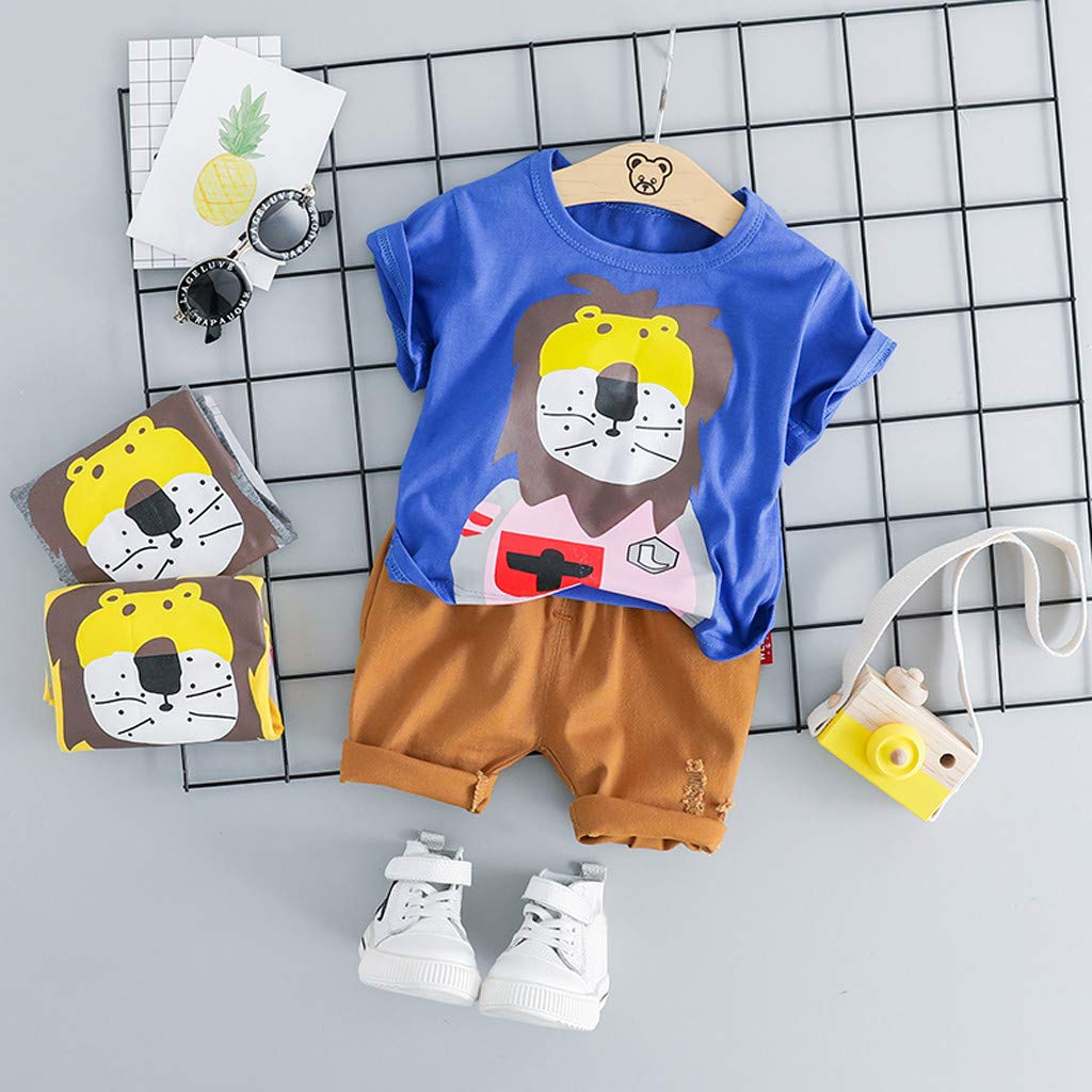 Xshuai Kleinkind Baby Kinder Boy Cartoon l/öwe Tops t-Shirt Feste Kurze Hosen Casual Outfits