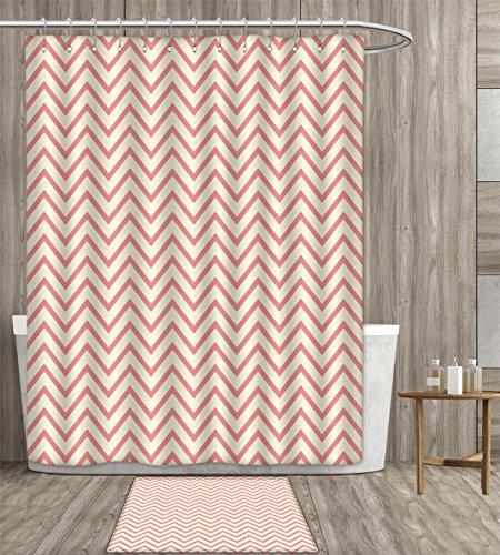 haommhome Geometric shower curtain sets bathroom Chevron Waves Lines Herringbone Design Pastel Zigzag Stripes Pattern Vintage Satin Fabric sets bathroom 72x72 inch Cream Coral gift bath rug