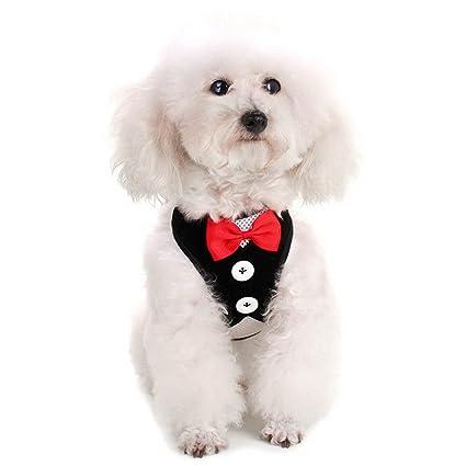 Amazon.com : SELMAI Stylish Mesh Black Dog Tuxedo Harness Vest Leash