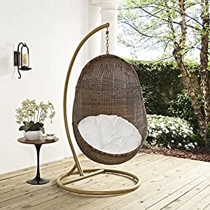 LexMod EEI-2277-YLW-WHI-Set Bean Outdoor Patio Wood Swing, Coffee White