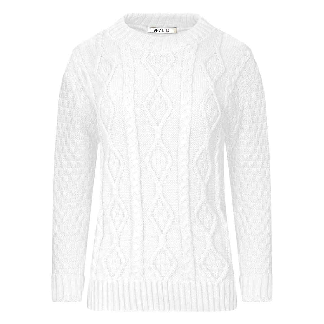 VR7 New Ladies Long Sleeve Chunky Cable Knitted Jumper Crew Neck Winter Sweater Top Size 8-18