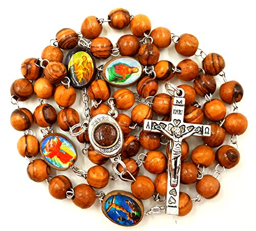 CATHOLIC ROSARY NECKLACE Olive Wood Saints Beads With Jerusalem Soil INRI Jesus Cross & Gift Box