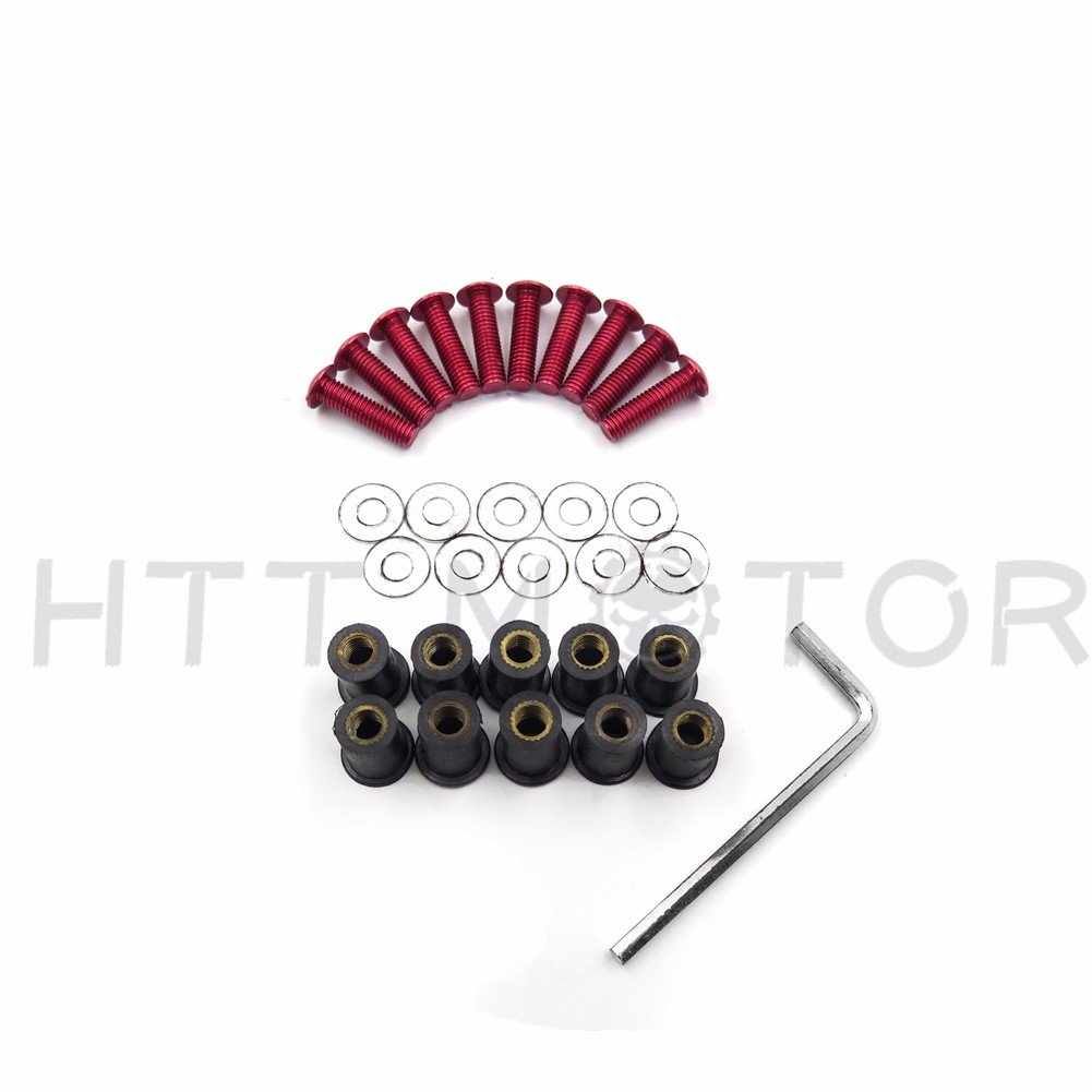 B00YWC6LNW XKMT-Red Round Windshield Bolts Screw Nuts Kit Compatible With Honda CBR 600rr 1000rr//Suzuki GSXR 600 750 1000//Yamaha R1 R6 R6s// Kawasaki ZX6R ZX9R ZX10R ZX12R//Ducati//BMW//H-D//KTM//Triumph