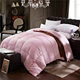 Topsleepy LUXURIOUS All Size 75% Goose Down Comforter ,1200TC 100% Cotton Shell Down Proof 750 Fill Power, 50 Oz Fill Weight ,LIGHT PINK Color,Hypo-allergenic (California King Size)