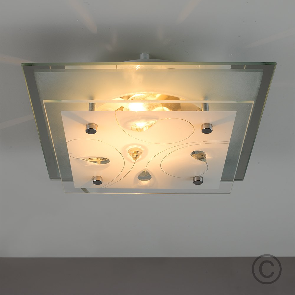 Elegant Modern Chrome Square Flush Hanging Crystal Light