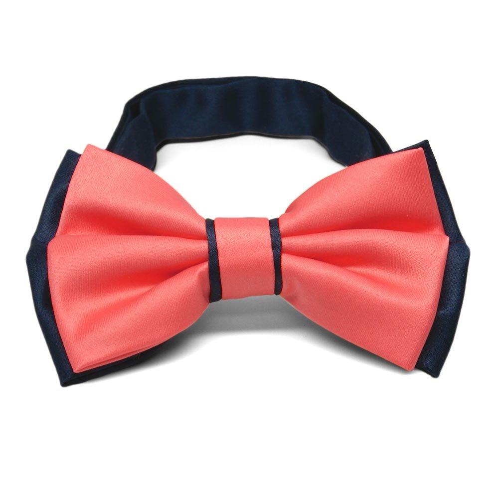 TieMart Coral and Navy Blue Dual Color Bow Tie