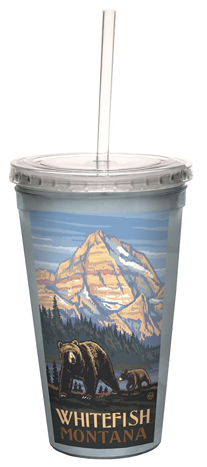 16-Ounce Tree-Free Greetings cc33356 Scenic Whitefish Montana Grizzly Bear and Cub by Paul A Lanquist Artful Traveler Double-Walled Cool Cup with Straw