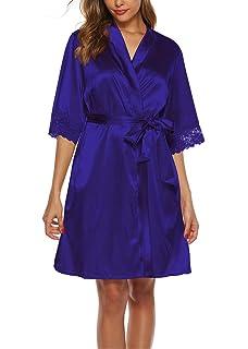 Sykooria Bata Kimono Mujer, 2 Piezas Seda Satén Corto Kimono Bata ...