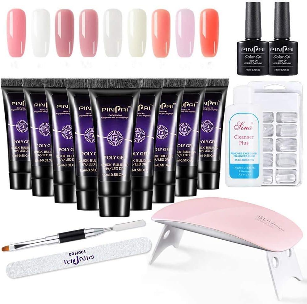Anself Polygel Kit, Kit de Manicura de Gel UV,15ML X 9 Colores Gel UV + Lámpara de Manicura +100 Pcs de Uñas, con Cepillo de Manicura, Lima de Uñas, Limpiador y Pegamento
