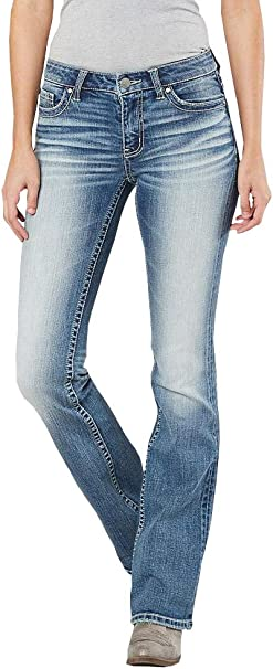 New Womens Blue Mid Rise Stretch Denim Flared Bootcut Jeans