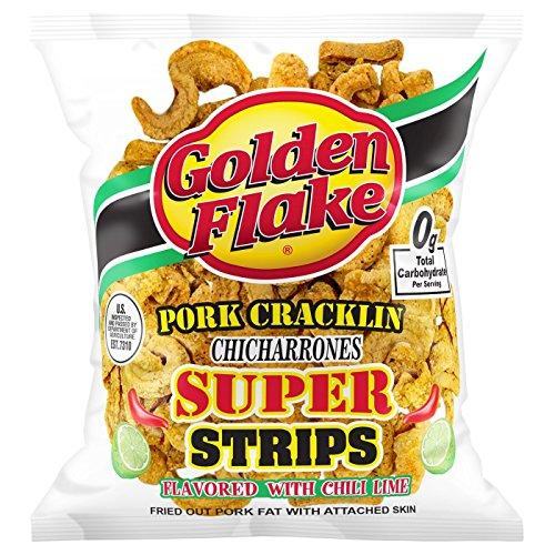 Golden Flake Pork Cracklin Chicharrones Super Strips 3.25oz, pack of 1 by Golden Flake Pork