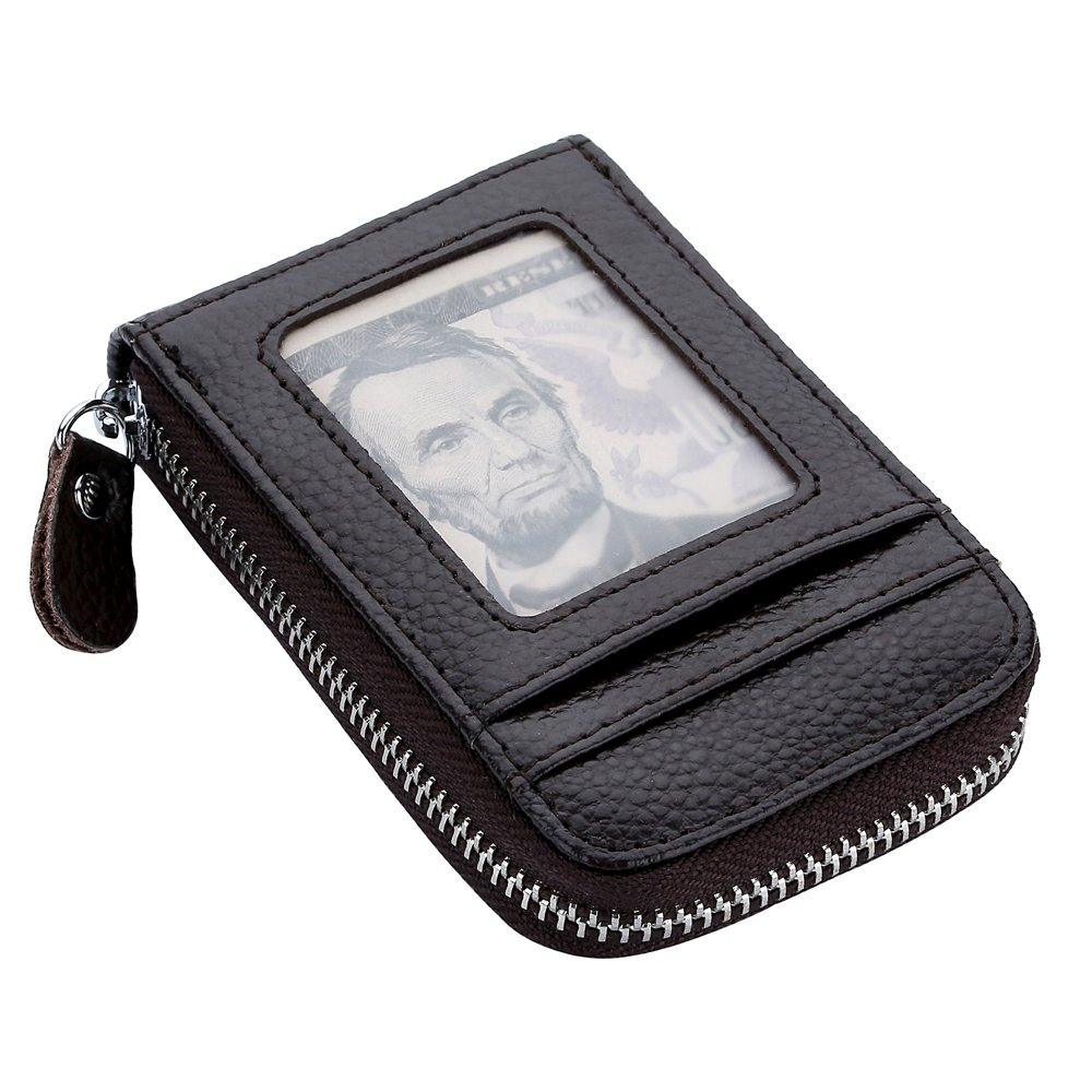 Genuine Leather Zipper Wallet Credit Card Holder Small Purse Cash Bag Case with ID Window