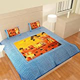 traditional mafia rses777794 Collection Printed Double Bed Sheet Set with 2 Pillow Covers, King, Blue
