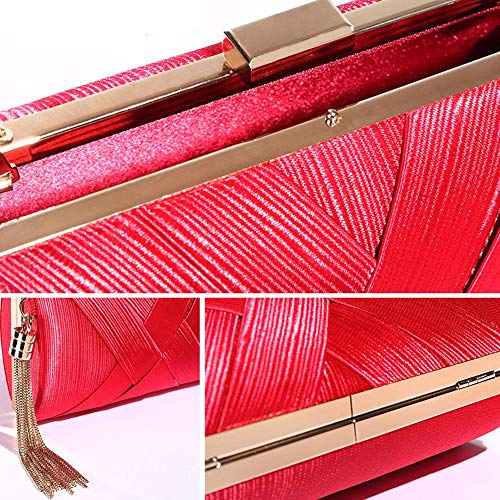 Pendant Tassel Women's Wedding Bag Clutch Red Wallet Dress Evening Bag Bridal Tote Silk FqTUvFw