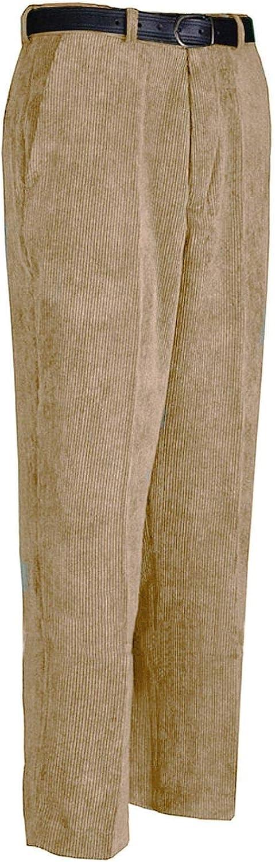 FASHION FAIRIES Gents Plain Corduroy Cord Casual Pants with Belt Mens Cotton Formal Trouser