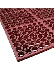 Cactus Mat 3520 R1 VIP Floormate 39 X 58 1 2 Red Heavy Duty Grease Resistant Rubber Anti Fatigue Floor Mat 7 8 Thick