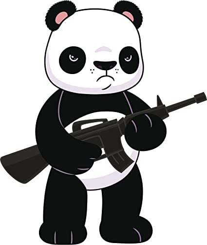 PANDA WITH GUNS Vinyl Decal Sticker Car Window Wall Bumper Macbook ART Bear