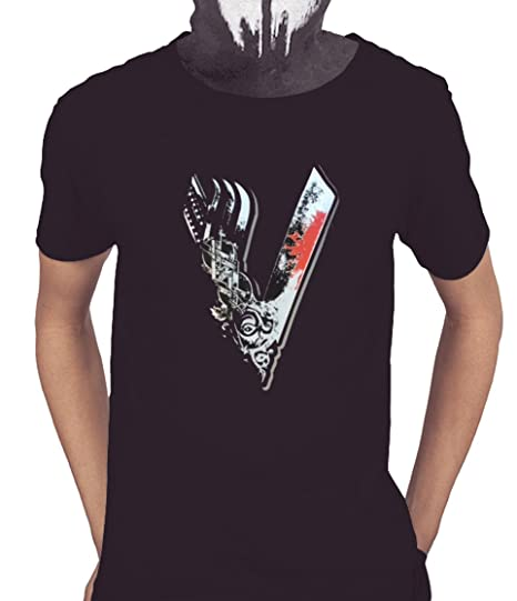 Acokaia Camiseta Vikingos de Hombre Color Negro (XS)