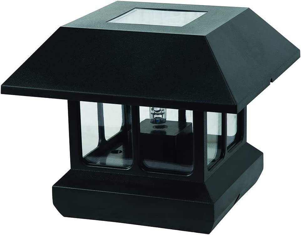 Sterno Home GL23124 GL23124BK Paradise Plastic Solar Post Light with White LED and Clear Lens, Black