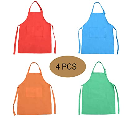 on sale hot sale online timeless design Amazon.com: YYaaloa 4 Pieces Kids Apron with Pocket Children ...