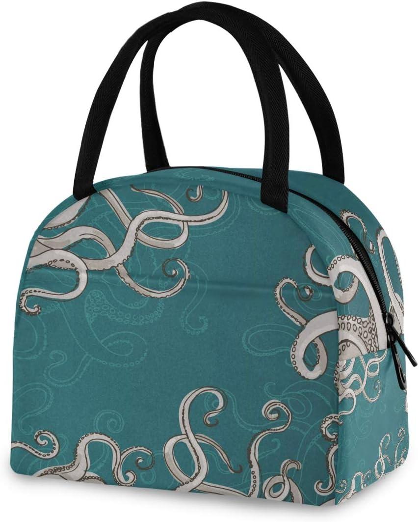 ZZKKO Kraken Octopus Lunch Bag Box Tote Organizer Lunch Container Insulated Zipper Meal Prep Cooler Handbag For Women Men Home School Office Outdoor Use