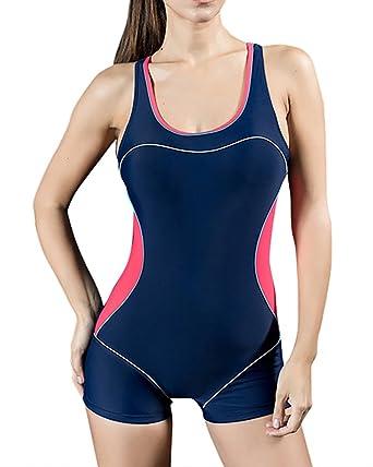5efe83250a509 Damen Sportlicher Badeanzug mit Bein Boyleg Bikini Set Bademode Schwimmanzug  mit Hotpants EU 36 Blau Rot