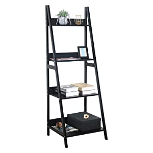 GreenForest Ladder Shelf 4 Tier Bookcase Metal and Wood Bookshelf Home Office Storage Rack Shelf Plant Stand, Black