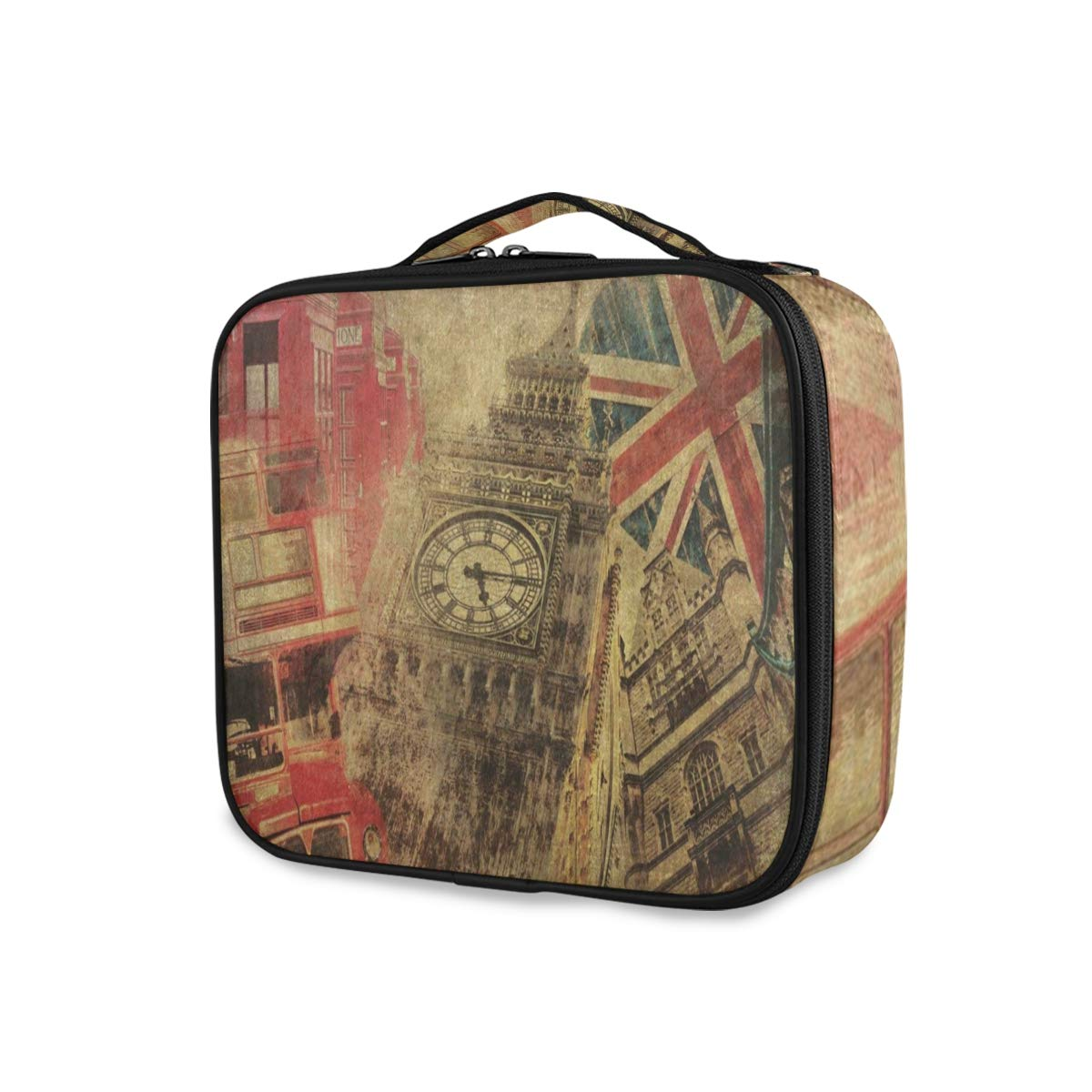Old Big Ben British Flag Travel Makeup Train Case Portable Organizer Cosmetic Bag for Women
