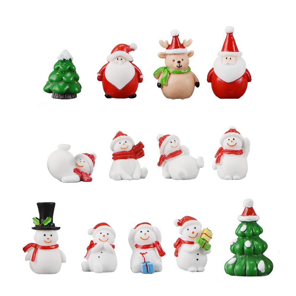 Miniature Garden Ornaments 13 Pcs Mini Christmas Santa Snowman Trees Deer Cute Fairy Garden Accessories DIY Kits for Xmas Bonsai Craft Cactus Garden Micro Landscape Dollhouse Indoor Outdoor Home Decor
