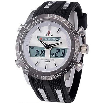WULIFANG Banda De Caucho Electrónica Reloj Reloj De Hombre MilitaresS Sports Watch Impermeable Reloj Digital Blanco