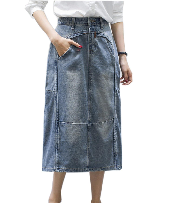 80c274cfc3 Cresay Womens long Modest Drape Denim Jean Skirt [9Napu1100235] - $19.99