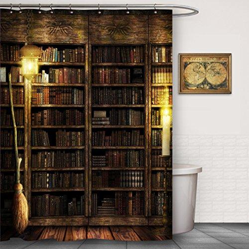 FOOG Halloween Shower Curtain Magic Vintage Book Shelf Witch Broom %100 Water-proof Mildew Resistant Water-Repellent Custom Bathroom Accessories (70'Wx78'L, Multi28)