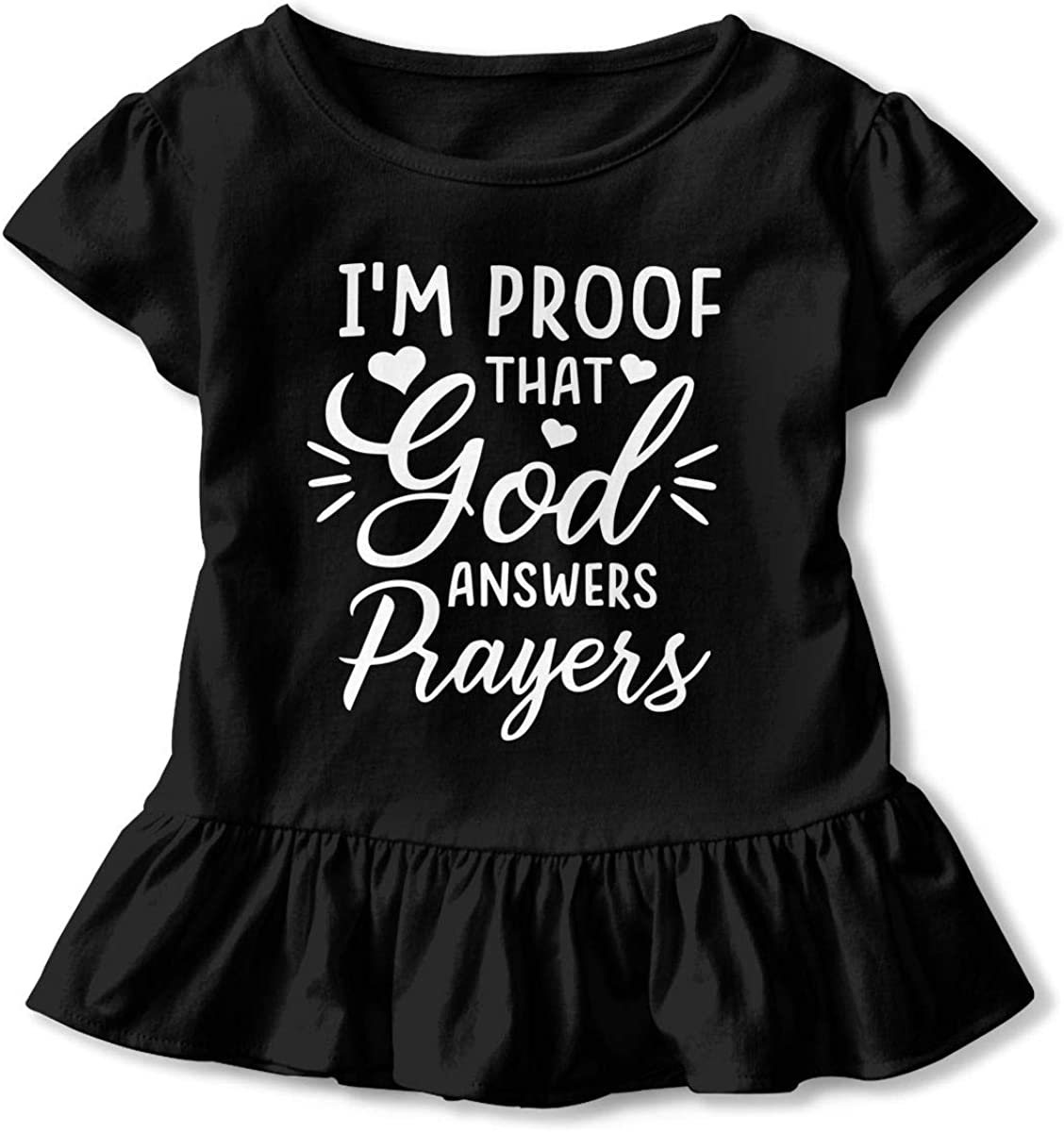 Proof That God Answers Prayers Toddler Girls T Shirt Kids Cotton Short Sleeve Ruffle Tee