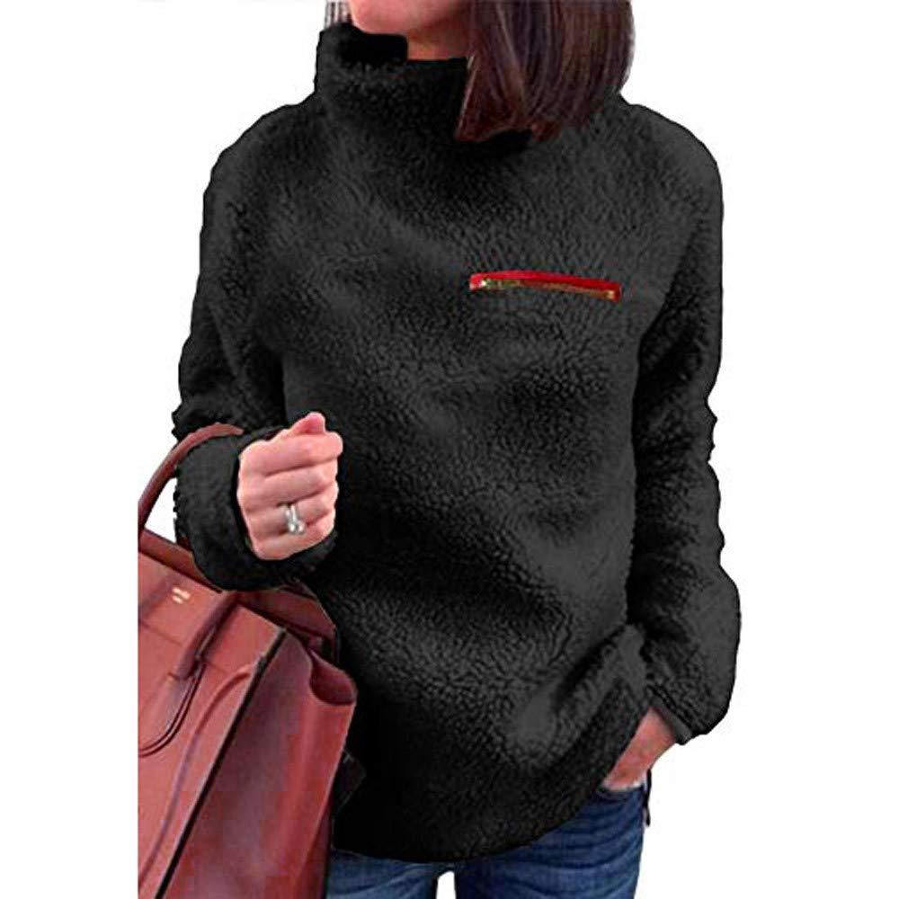 St.Dona Women's Sherpa Fleece Sweaters Turtleneck Long Sleeve Sweatshirt Pullover Tunic Blouse