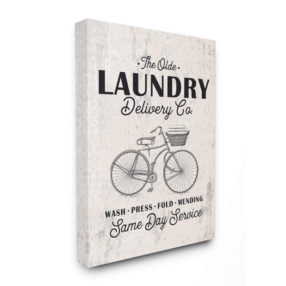 The Stupell Home Decor Collection Black on White Washed Texture Laundry Delivery Co Same Day Service Bike Illustration Wall Plaque Art 12.5x18.5 Multi-Color