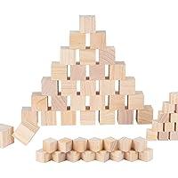 BENECREAT 60PCS Cubos De Madera 3.5x3.5x3.5cm y 2x2x2cm